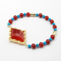 Natural Carnelian Rhombus Semi-precious Stones and Round Turquoise Beads 18K Gold Plated Barrel Beads Bracelets, Free Shipping