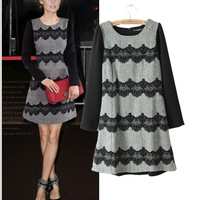 201312 autumn and winter women flock printing lace decoration slim basic skirt high waist one-piece dress dresses