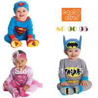 Retail !Kids clothes 2013 autumn baby boys' and girls Batman Superman long sleeve Coverall (Romper + hats) Free shipping