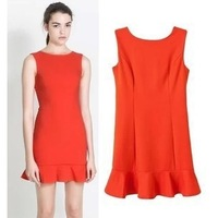 New Fashion Ladies' elegant red Pleated-dress sexy Flouncing backless sleeveless dress slim casual evening party dress