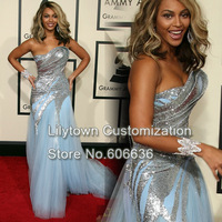 Beyonce ElieSaab Sequins Tulle Grammy Sky Blue Celebrity Dresses Designer Special Occasion Long Dress Free Shipping