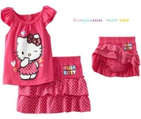 new children set,spring wear cartoon clothing  suits children's wear hellokitty girls,t shirt+skirt,red,5set/1lot,free shipping