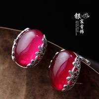 Red corundum  vintage 925 pure silver  stud earring