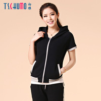 2013 women's summer 2013 with a hood casual sports sweatshirt sports set short-sleeve