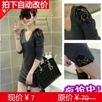 Spring and autumn lace sexy medium-long tight bag long-sleeve basic long johns women t-shirt