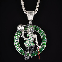 silver Boston Celtics big pendant Necklaces Hip hop fashion jewelry