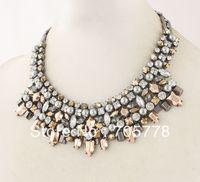 Auth 2013 New Kahlo Bib Necklace Hematite Statement Bib necklace  Fashion Jewelry for women,Free Shipping