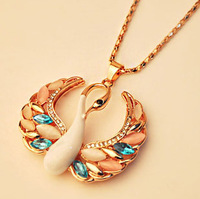 Min order $10(mix order) Free shipping White Swan Opal Coat Chain Vintage Cat's Eye Swarovski Crystal Necklace & Pendant