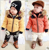2013 winter eiderdown cotton baby clothes sell like hot cakes baby boy cotton-padded clothes collars and velvet thickening