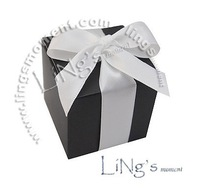 NEW popular Black square box with Ribbon Wedding Favor Gift Baby Show Boxes