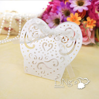 Free Shipping! 48pcs/Lot 2014 Newly Design White Lazer Cut Wedding Party Favor Boxes