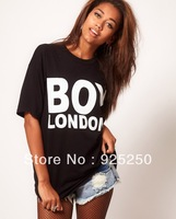 top for women fashion 2013 summer sexy BOY LONDON  print cotton punk t shirt black white color short sleeve loose tee plus size