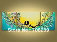 huge 150*60 cm Lovebirds 100% hand painted wall art Oil Painting Canvas Modern living room home decor art Colorful pictures bird
