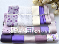 COCO DIY RIBBON! 19 patterns Purple Grosgrain Ribbon MIXed styles satin cartoon hairbow bowknot Variety Width Printing Crochet