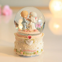 Drop doll crystal ball music box crystal ball rotating wedding gift