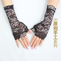 Summer lace gloves semi-finger female sunscreen gloves anti-uv gloves fashion all-match