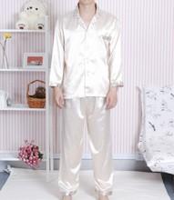 Light Gold Chinese Men's sleepwear Silk Rayon 2pc Nightwear Robe Pyjamas Sets Bath Gown L XL XXL SH0007(China (Mainland))