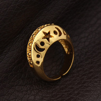 Trendy Adjustable Size High Quality 18K Real Gold Plated Fashion Hollow Star And Moon Wedding Bands Rings Jewelry Wholesale R308