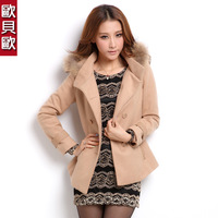 2013 autumn women's slim woolen outerwear female medium-long double breasted wool coat raccoon fur