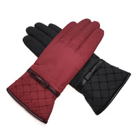 New arrival winter outdoor waterproof nylon women's thickening cold-proof ski gloves exquisite bow beading