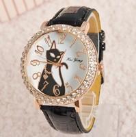 2015 Newest Fashion 8 Colors Women Classic Sex Kitty Diamond Rhinestone Watches Ladies Leather Quartz Wristwatches Female Hours