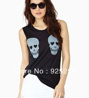 top for women fashion 2013 sexy tank skull head print cotton punk t shirt black color  tee plus size freeshipping