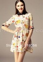 2014 new arrive Europe and the United States women's sweet Hubble bubble sleeve cartoon printed sleeve Waist Chiffon Dress