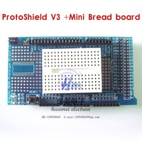 Freeshipping !  1PCS MEGA ProtoShield V3 prototype expansion board for mega 2560+1PCS Mini Bread board