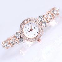 Luxury watch women white quartz rose gold plated round dial full crystal rhinestone bracelet free shipping hot sale