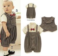 Toddler infant newborn baby romper gentleman one piece short sleeve cotton kids bodysuits clothing