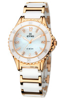 2013EYKI Archer stylish and elegant stainless steel quartz watch with diamond female models ceramic water table 8632