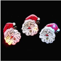 jr042 Free shopping wholesale 25pcs 10styles flashing brooches LED badge /Santa Claus luminous badge and Christmas decorations