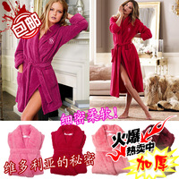 Victoria vs fashion luxury flannel autumn and winter female sleepwear bathrobes robe lounge