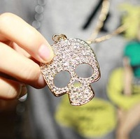 (MIX order $10 )Fashion punk rock wind full rhinestone all-match large skull t-shirt necklace long personalizednecklace