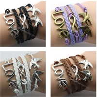 6pcs multi layered leather rope handmade Bracelet Set with metal charm Infinity / Double Peace Birds/ Friendship Love Hot Sale