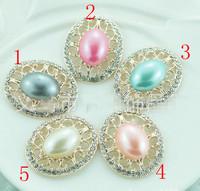 Free Shipping Pearl Jewelry !50pcs/lot 25*33MM rhinestone button wedding Invitation embellishment Scrapbooking Napkin Ring