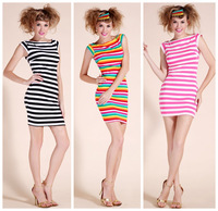 Summer fashion stripe short-sleeve dress slim hip casual dress plus size sexy women's patchwork clothes