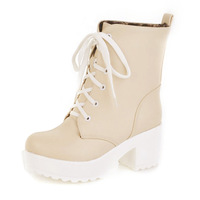 Autumn fashion lacing slip-resistant platform high-heeled boots female