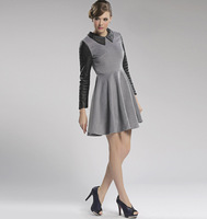 2013 autumn and winter casual gentlewomen elegant slim waist grey woolen patchwork short skirt long-sleeve dress women