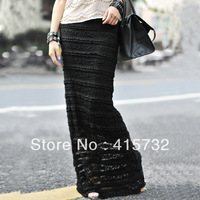 Free Shipping 2014 Customized 6XL Lace Long Maxi Skirt For Women Summer ol Formal Straight Plus Size Black And White Sexy Skirts