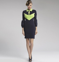 Fashion vintage 2013 color block stand collar slim hip women's long-sleeve dress Women knitted one-piece dress