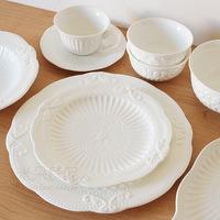 Fashion wedding royal ceramic relief tableware mug-up cake plate bowl steak western dish fish