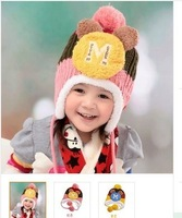 Children's new earmuffs warm winter knitting wool ball lovely M letters within a nodding 10sets/lot Free shipping