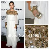 Olivia Wilde 2014 Bateall collar Delicate Beadings White Chiffon Long Fashion Celebrity Dresses