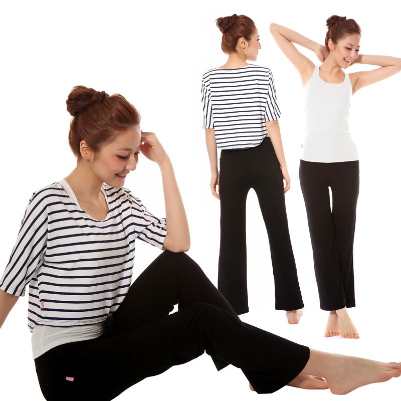 Yoga clothes female 2013 three pieces set plus size half sleeve yoga clothing(China (Mainland))
