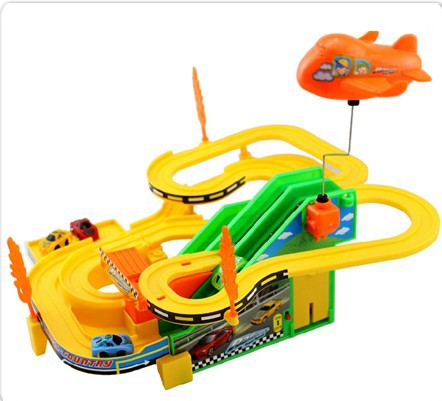 2014 Hot Sale Boy Track Racer Racing Car Rotating Electric Parking Packages Assembled Slides + 4 Racing Play Track Car Baby Toy(China (Mainland))