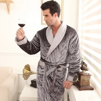 Thick winter male thickening robe coral fleece cotton-padded gold velvet robe male plus size bathrobe