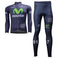 New 2013 Movistar Team Winter Thermal Fleece Long Sleeve Cycling Jersey And Pants winter cycling clothing Bike Jersey kit