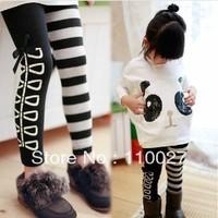 girl's fashion leggings cotton fleeces warm leg tights children trousers black + striped butterfly pants 5pcs/lot free shipping