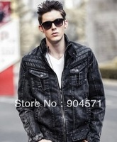 2014 Men Denim Jacket Autumn Winter Fashion Stand Collar Solid Cowboy Coat Zipper Motorcycle Outcoat Casual Plus Size XXXL